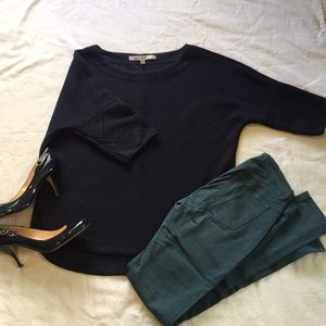 Max Studio Sweater, navy with 3/4 sleeves